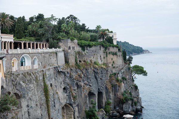 Villa Astor luxury home accommodation rental mediterrean landscape sea Naples bay Sorrento cliff private dock boat access
